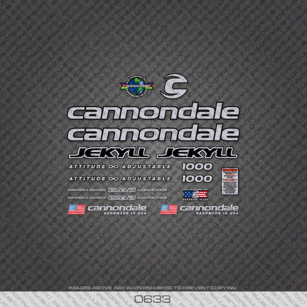 Cannondale Jekyll 1000 Bicycle Decals - Silver - www.bicyclestickers.co.uk
