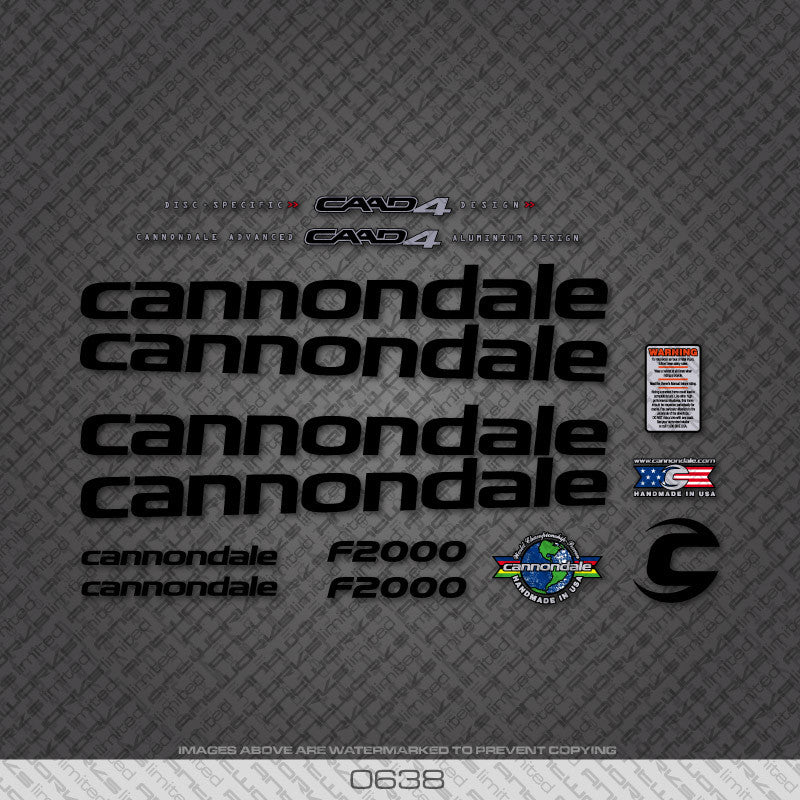 Cannondale F2000 Bicycle Decals - Black Lettering - www.bicyclestickers.co.uk