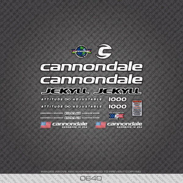 Cannondale Jekyll 1000 Bicycle Decals - White - www.bicyclestickers.co.uk