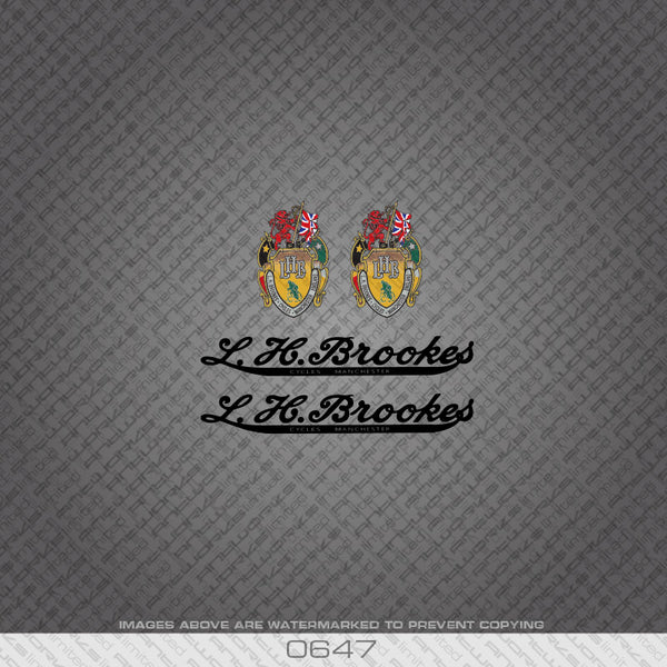 L H Brookes Black Bicycle Decals Stickers