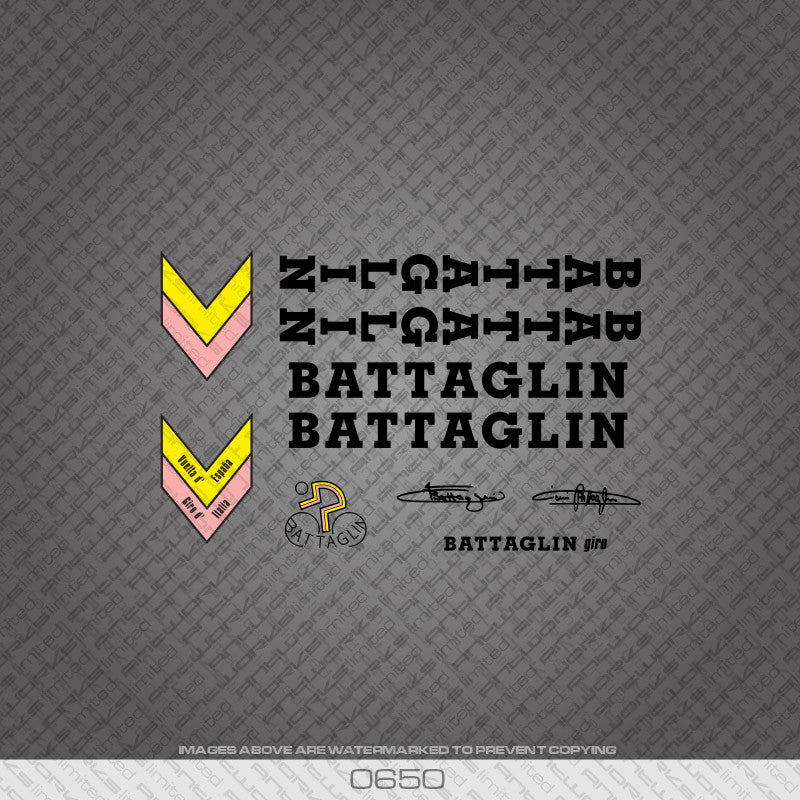 Battaglin Bicycle Decals - Black - www.bicyclestickers.co.uk