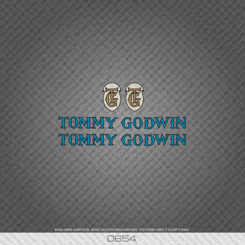 Tommy Godwin Bicycle Decals - Blue - www.bicyclestickers.co.uk