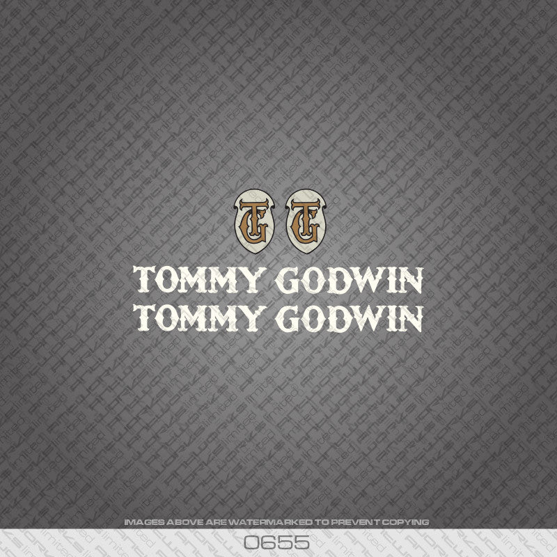 Tommy Godwin Bicycle Decals - White - www.bicyclestickers.co.uk