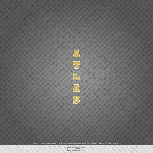 Atlas Bicycle Seat Tube Decal - Gold With White Keyline - www.bicyclestickers.co.uk