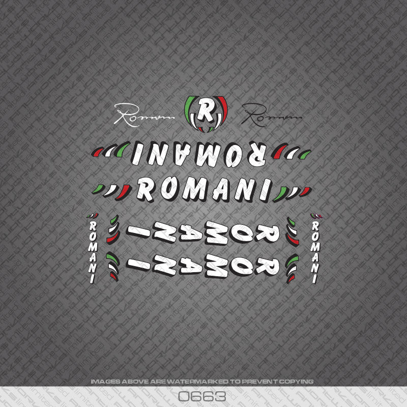 Romani Bicycle Decals - White/Black - www.bicyclestickers.co.uk