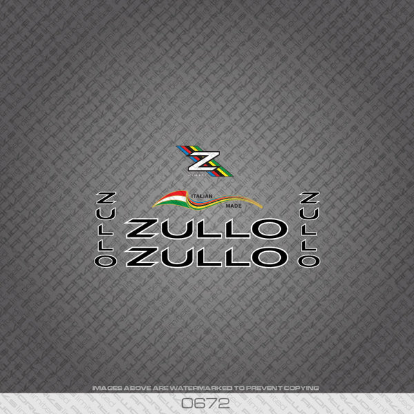 Zullo Bicycle Decals - Black with White Keyline