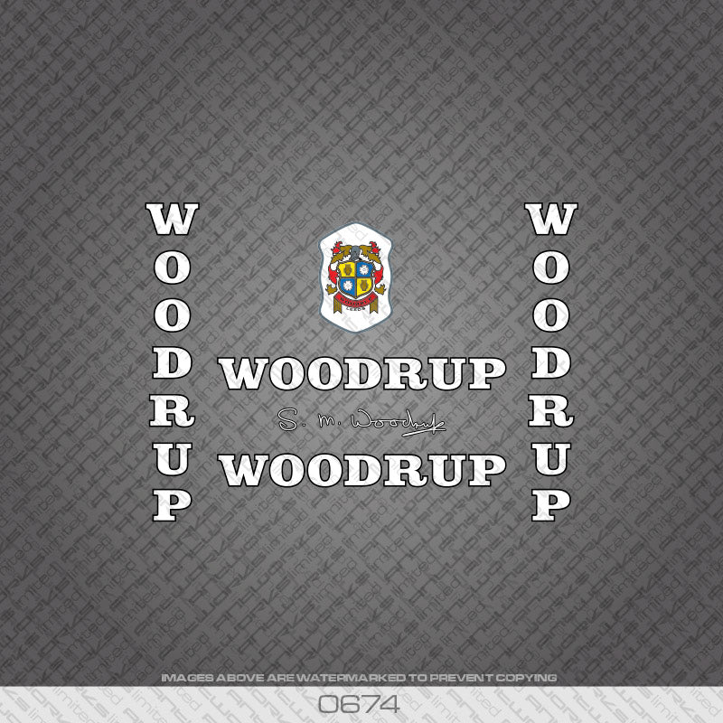 Woodrup Bicycle Decals - White with Black Keyline