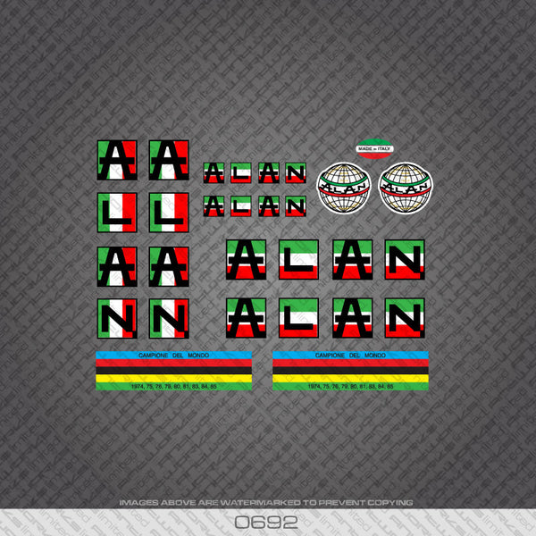 Alan Bicycle Decals In Italian Flag Colours - www.bicyclestickers.co.uk