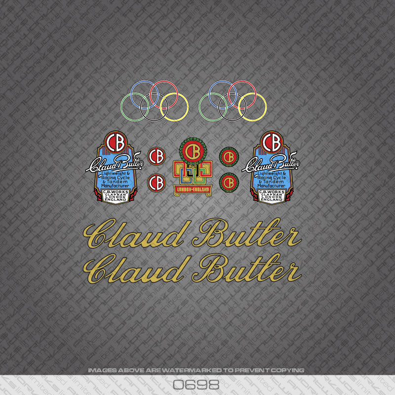 Claud Butler Script Bicycle Decals - Gold Lettering With Black Keyline - www.bicyclestickers.co.uk