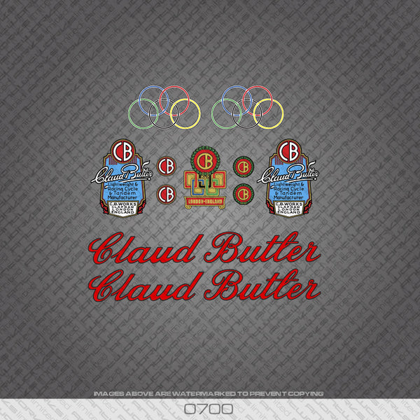 Claud Butler Script Bicycle Decals - Red Lettering With Black Keyline - www.bicyclestickers.co.uk