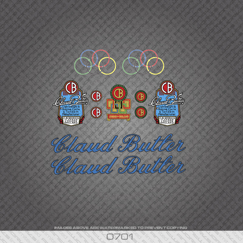 Claud Butler Script Bicycle Decals - Blue Lettering With Black Keyline - www.bicyclestickers.co.uk