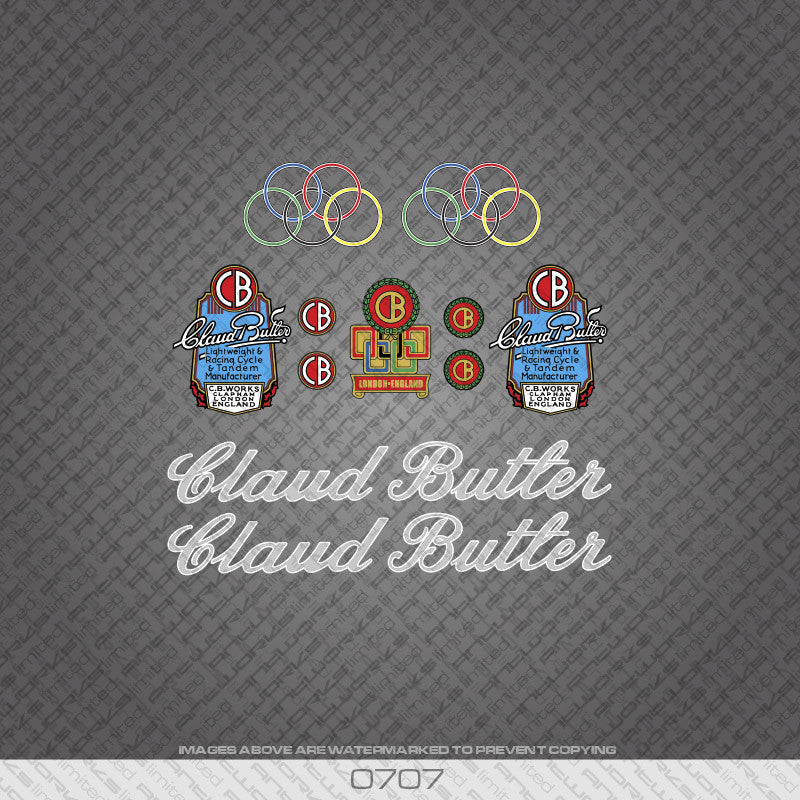 Claud Butler Script Bicycle Decals - Silver Lettering With White Keyline - www.bicyclestickers.co.uk