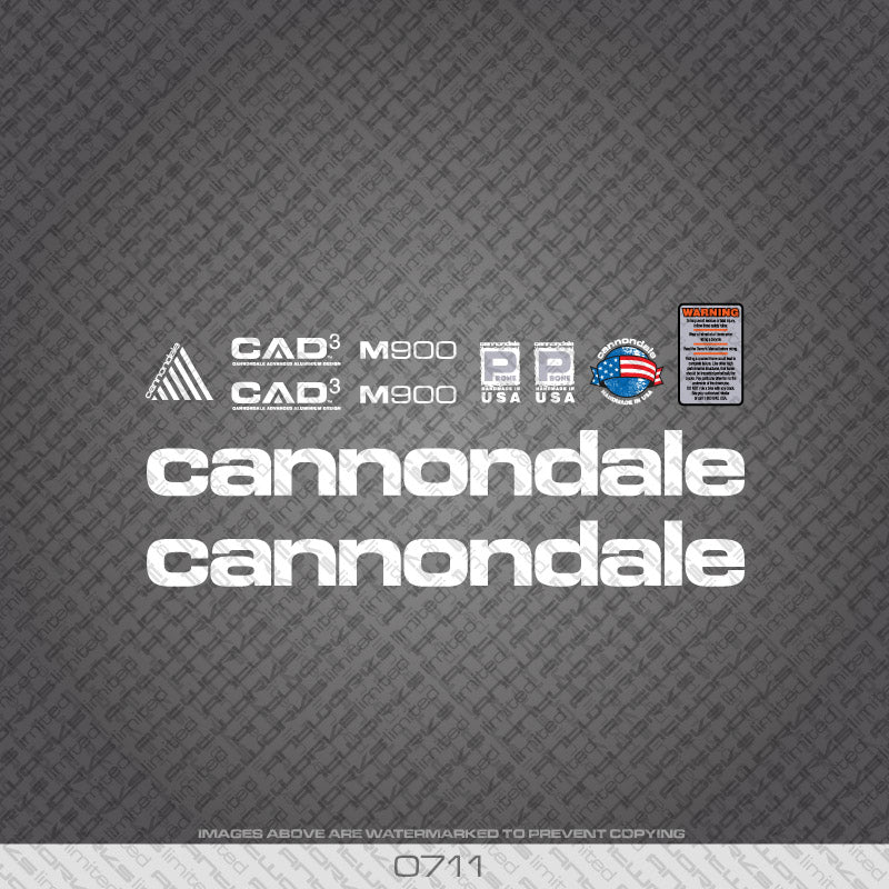 Cannondale M900 Bicycle Decals - White Lettering