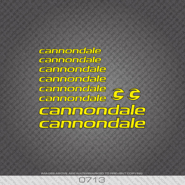 Cannondale Bicycle Decals - Yellow Lettering With Black Keyline