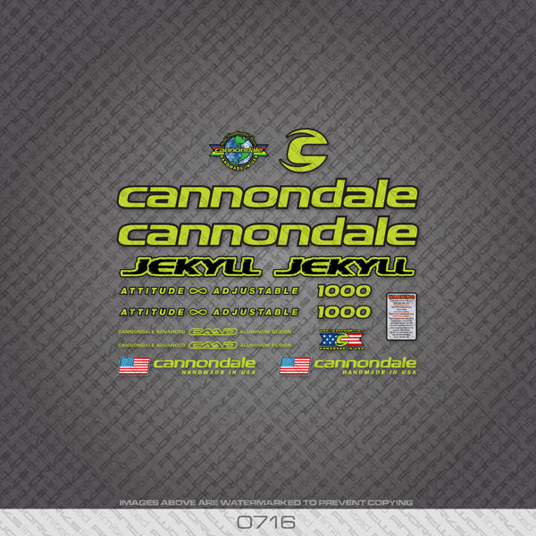 Cannondale Jekyll 1000 Bicycle Decals - Green