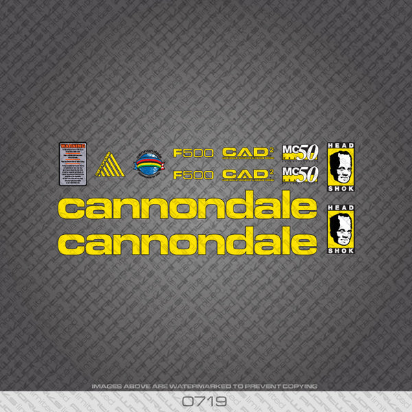Cannondale F500 Bicycle Decals - Yellow