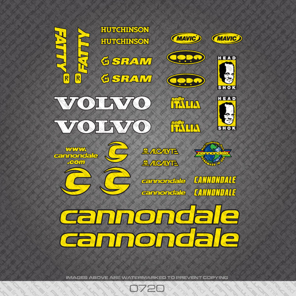 Cannondale Fatty Team Bicycle Decals - Yellow