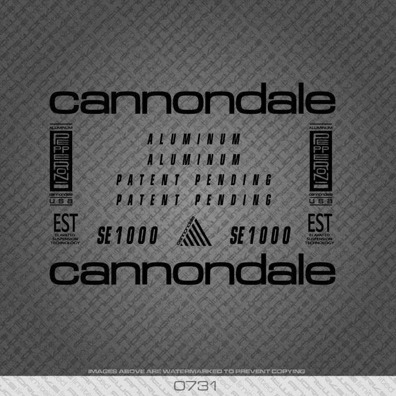 Cannondale SE1000 Bicycle Decals - Black Lettering