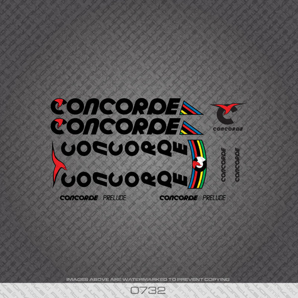 Concorde Prelude Bicycle Decals - Black Lettering