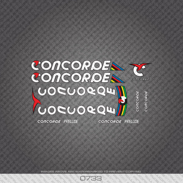 Concorde Prelude Bicycle Decals - White Lettering