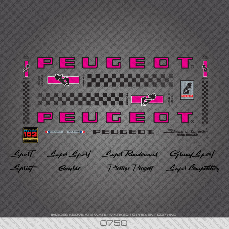 Peugeot PX/PY10 Tandem Bicycle Decals - Pink/Black