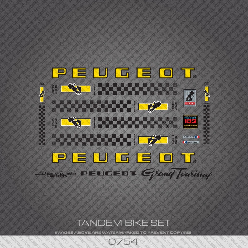 Peugeot PX/PY10 Tandem Bicycle Decals - Yellow/Black