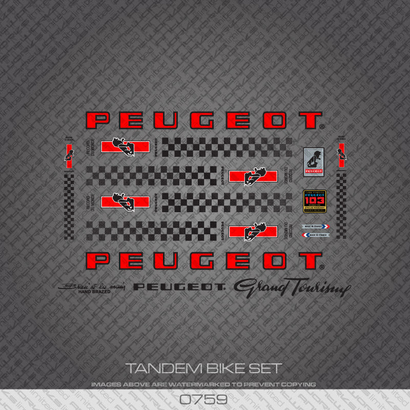 Peugeot PX/PY10 Tandem Bicycle Decals - Red/Black