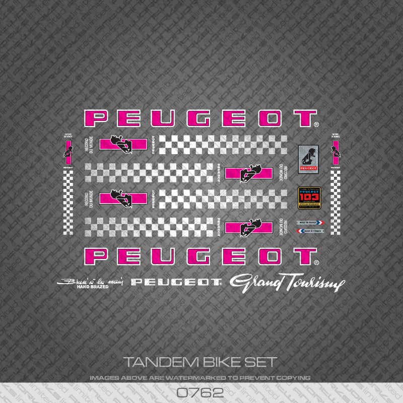Peugeot PX/PY10 Tandem Bicycle Decals - Pink/White