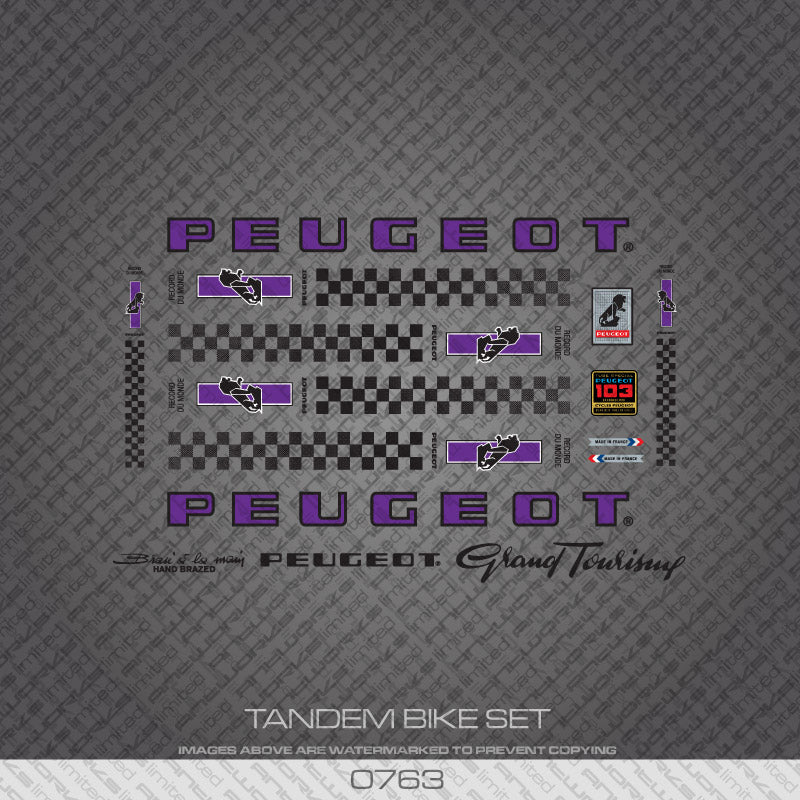 Peugeot PX/PY10 Tandem Bicycle Decals - Purple/Black