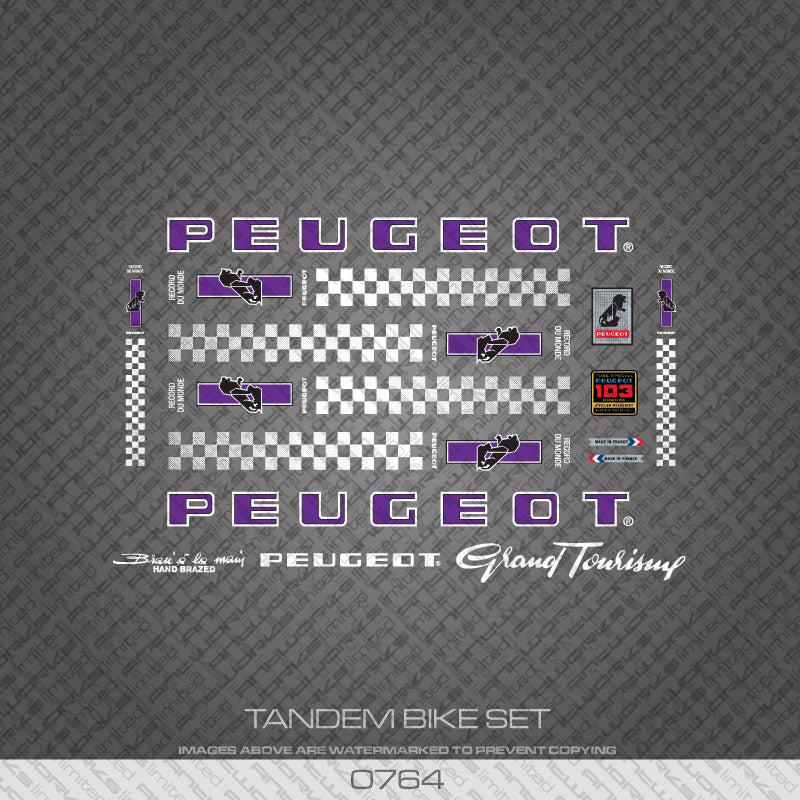 Peugeot PX/PY10 Tandem Bicycle Decals - Purple/White