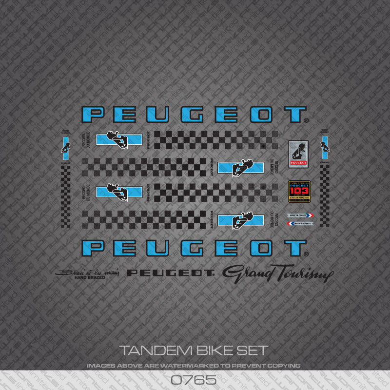 Peugeot PX/PY10 Tandem Bicycle Decals - Blue/Black