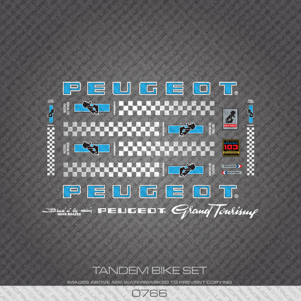 Peugeot PX/PY10 Tandem Bicycle Decals - Blue/White