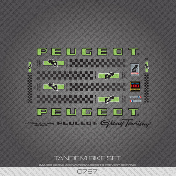 Peugeot PX/PY10 Tandem Bicycle Decals - Green/Black