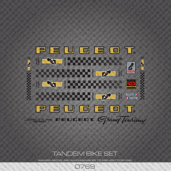 Peugeot PX/PY10 Tandem Bicycle Decals - Gold/Black