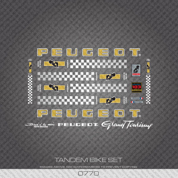 Peugeot PX/PY10 Tandem Bicycle Decals - Gold/White