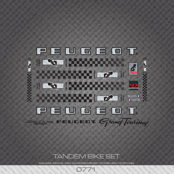 Peugeot PX/PY10 Tandem Bicycle Decals - Silver/Black