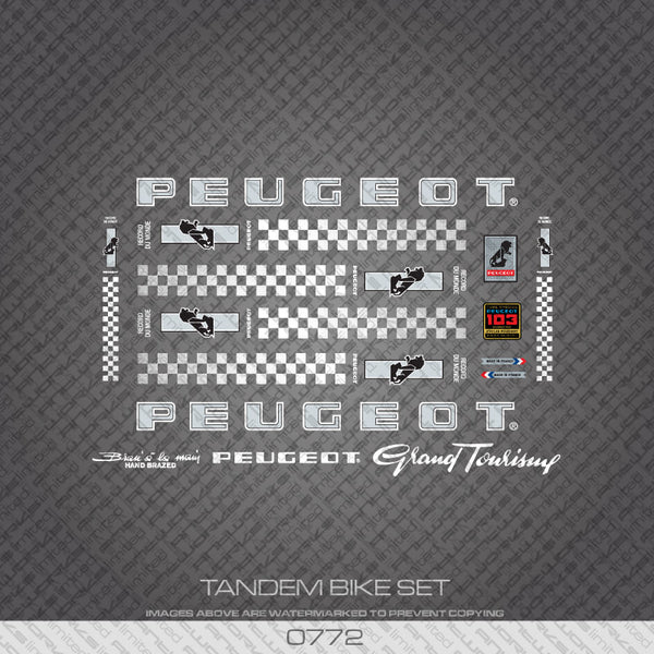 Peugeot PX/PY10 Tandem Bicycle Decals - Silver/White