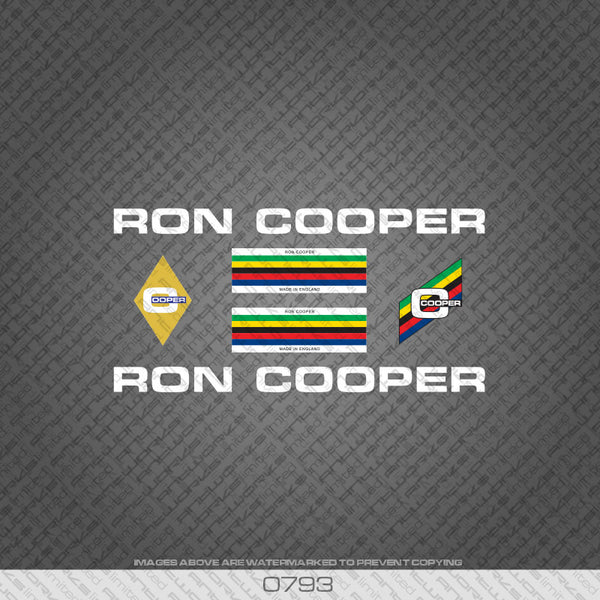 Ron Cooper Bicycle Decals - White