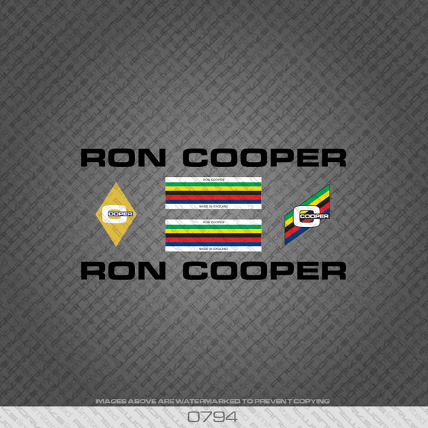 Ron Cooper Bicycle Decals - Black