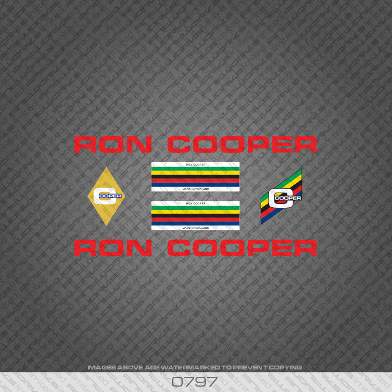 Ron Cooper Bicycle Decals - Red