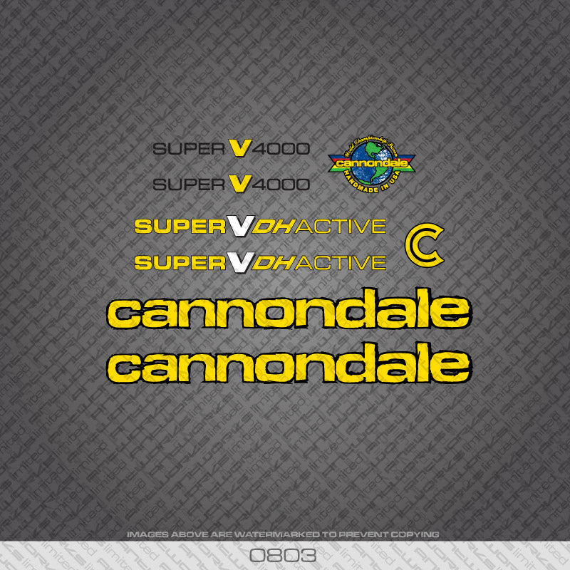 Cannondale Super V4000 DH Active Bicycle Decals - Yellow With Black Keyline