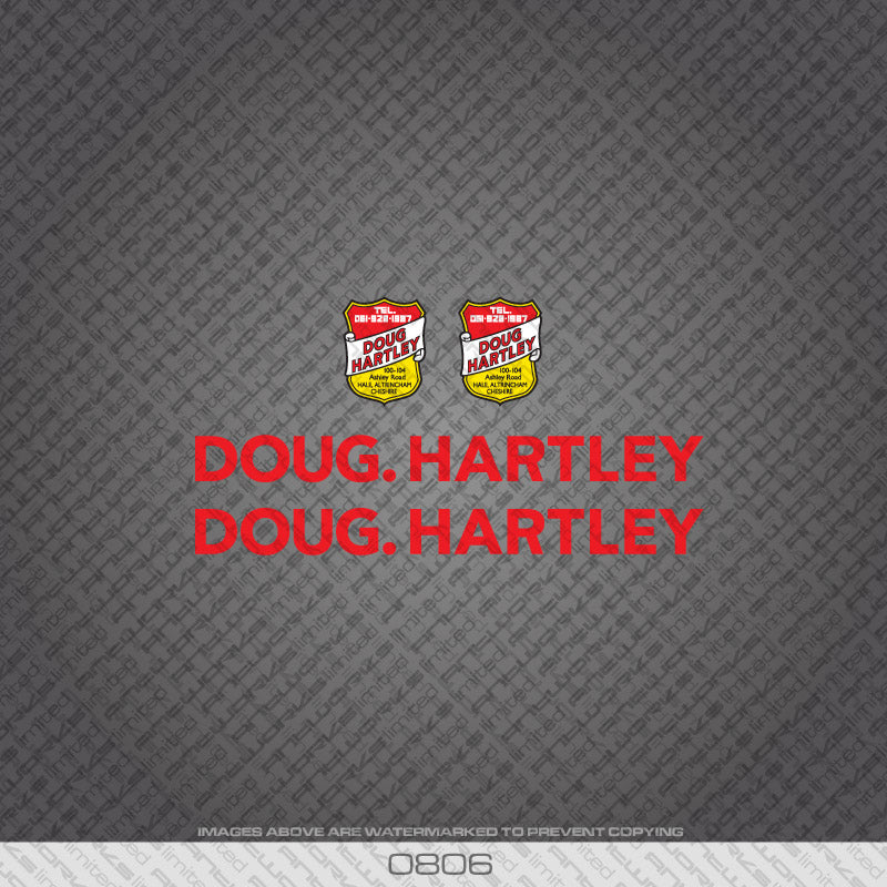 Doug Hartley Bicycle Decals - Red
