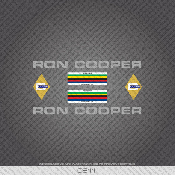 Ron Cooper Bicycle Decals - Silver