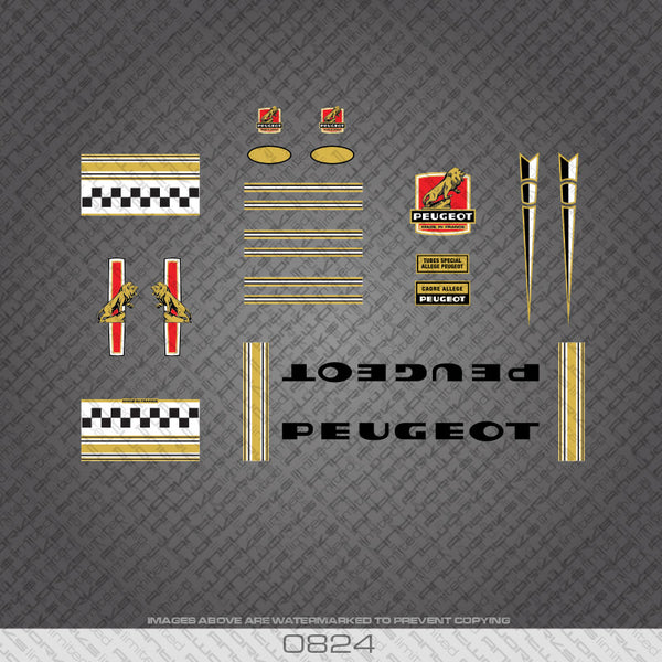 Peugeot Bicycle Decals - Gold/Black