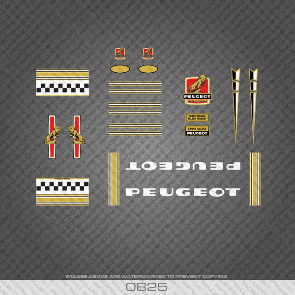 Peugeot Bicycle Decals - Gold/White