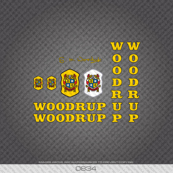 Woodrup Bicycle Decals - Yellow with Black Keyline