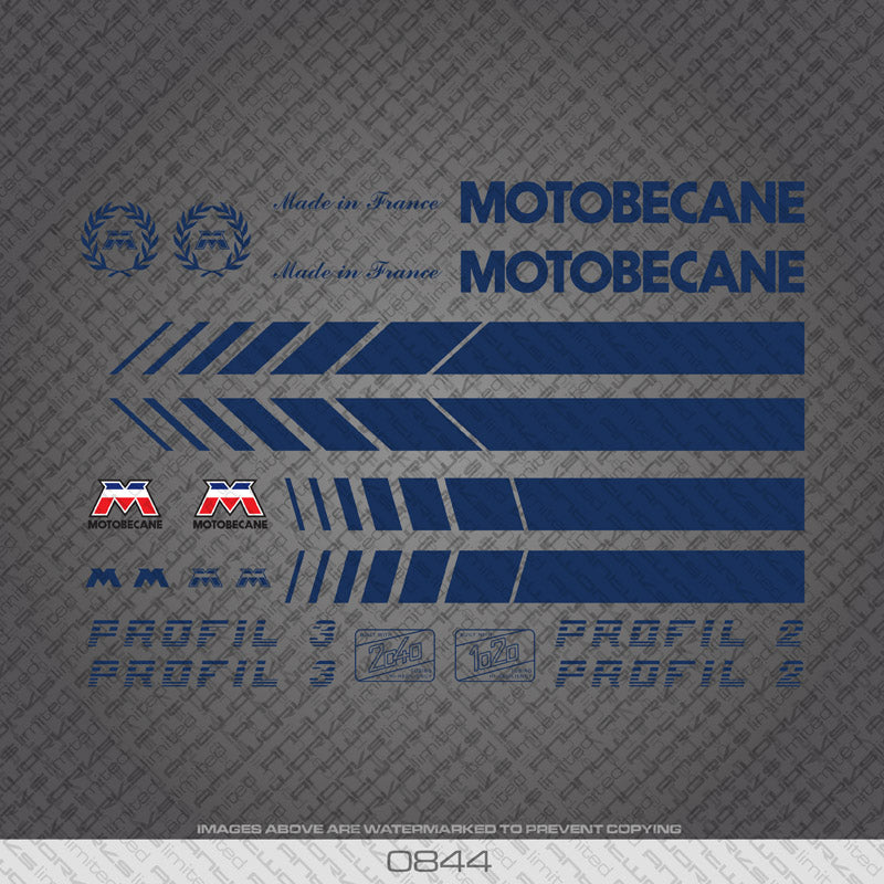 Motobecane Bicycle Frame Stickers - Profil 2 - Profil 3 - Decals