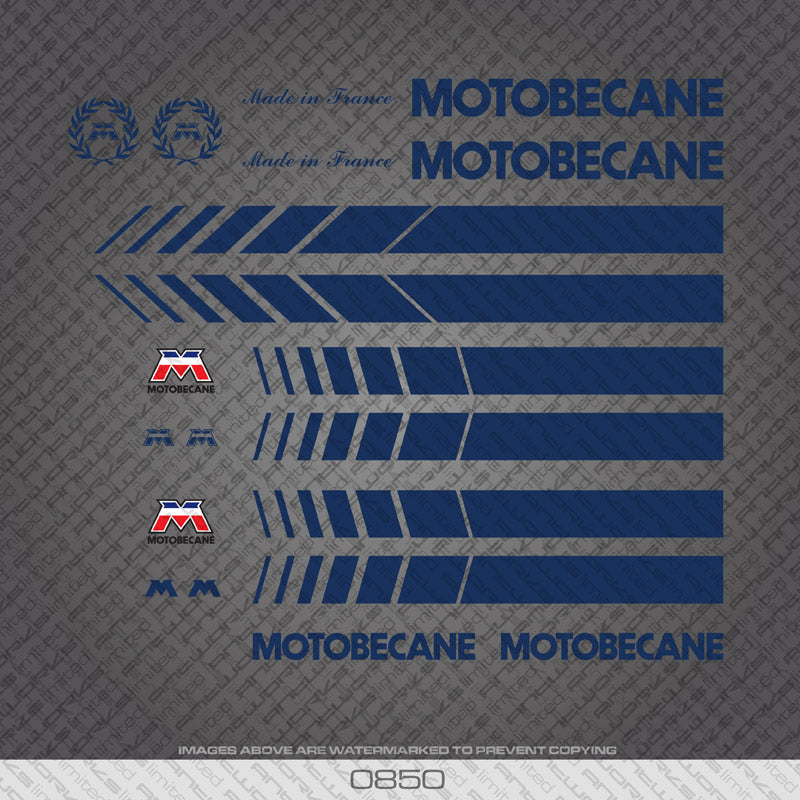 Motobecane Tandem Bicycle Frame Stickers - Decals