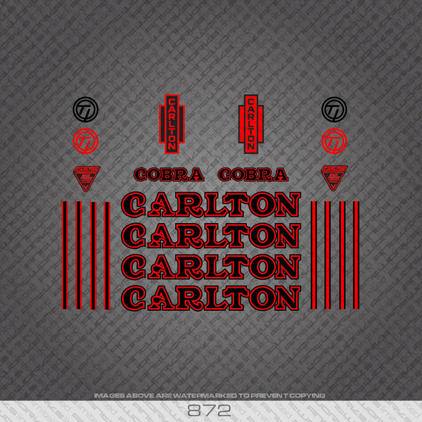 Carlton Cobra Bicycle Decals - Black/Red