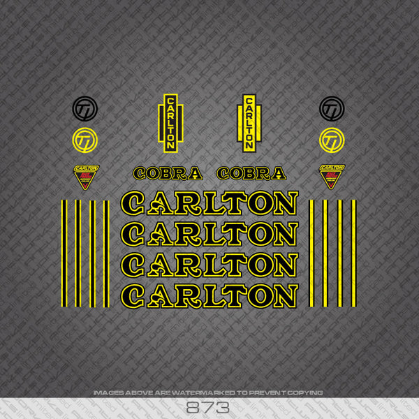 Carlton Cobra Bicycle Decals - Black/Yellow